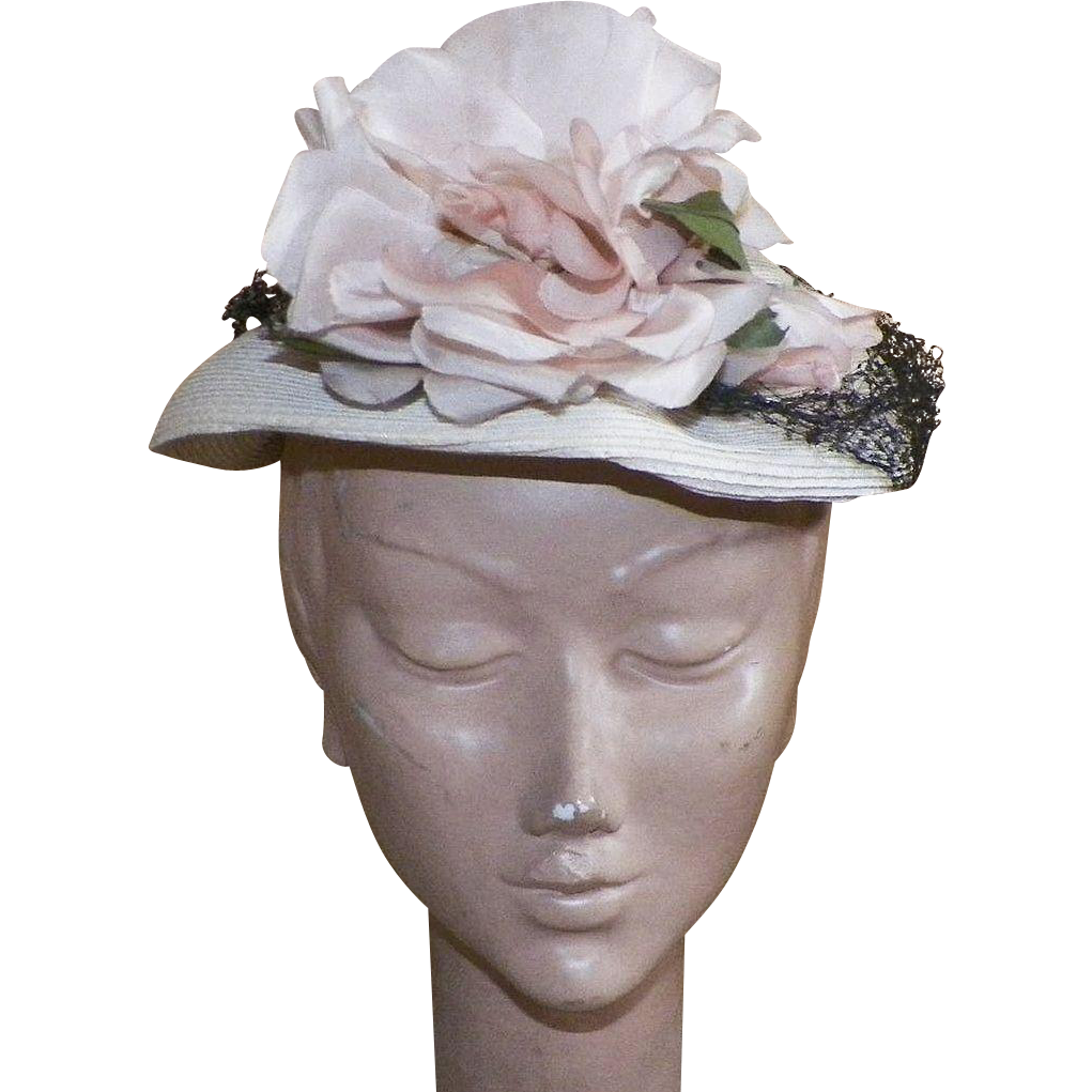 Vintage 1950's Straw Hat With Large Silk Flower and Black Netting