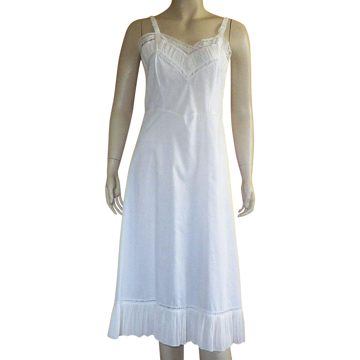 Vintage Cotton Blend White Full Slip