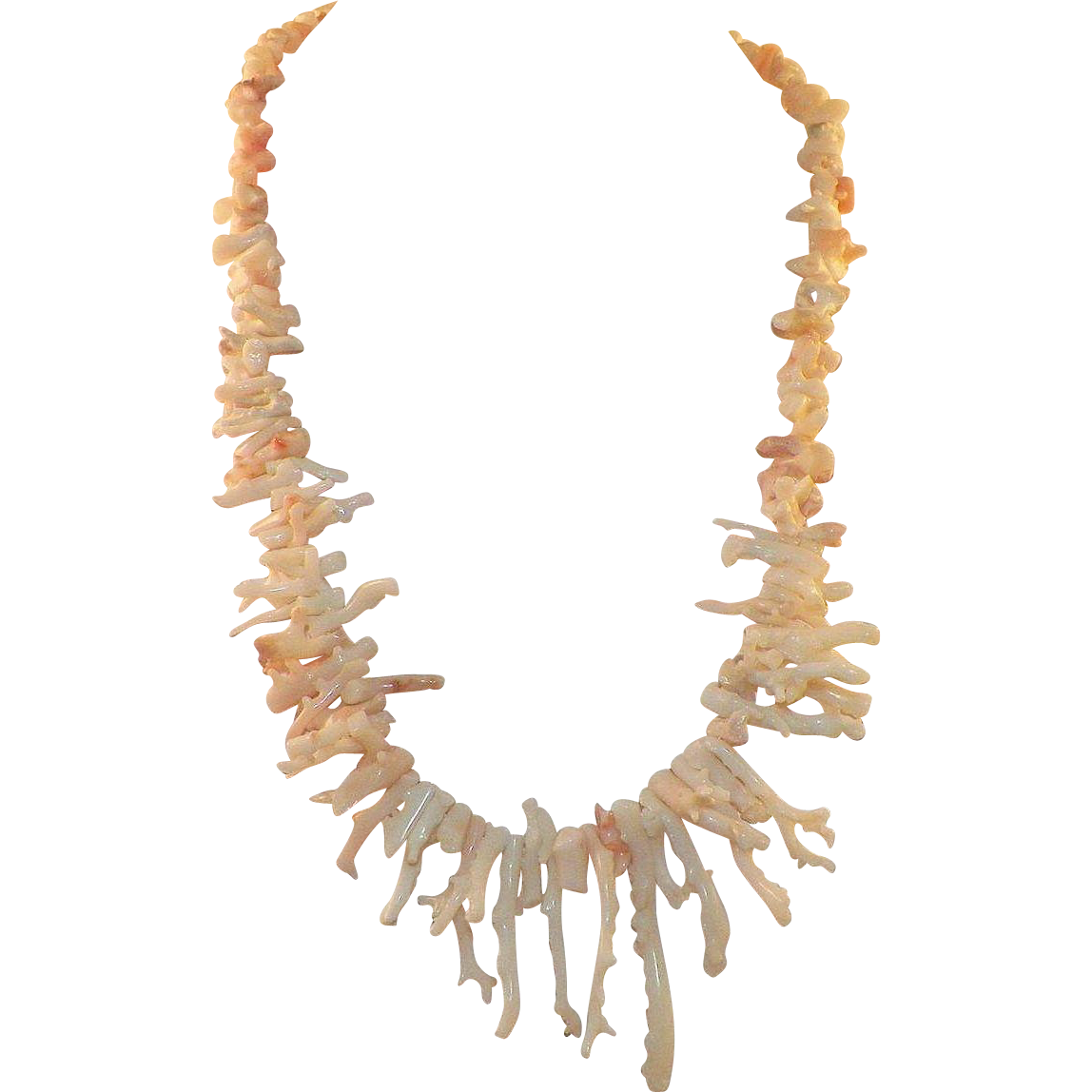 Vintage Native American White / Angel Skin Branch Coral Necklace Chunky