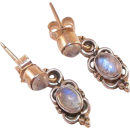 Sterling and Rainbow Moonstone Drop Earrings