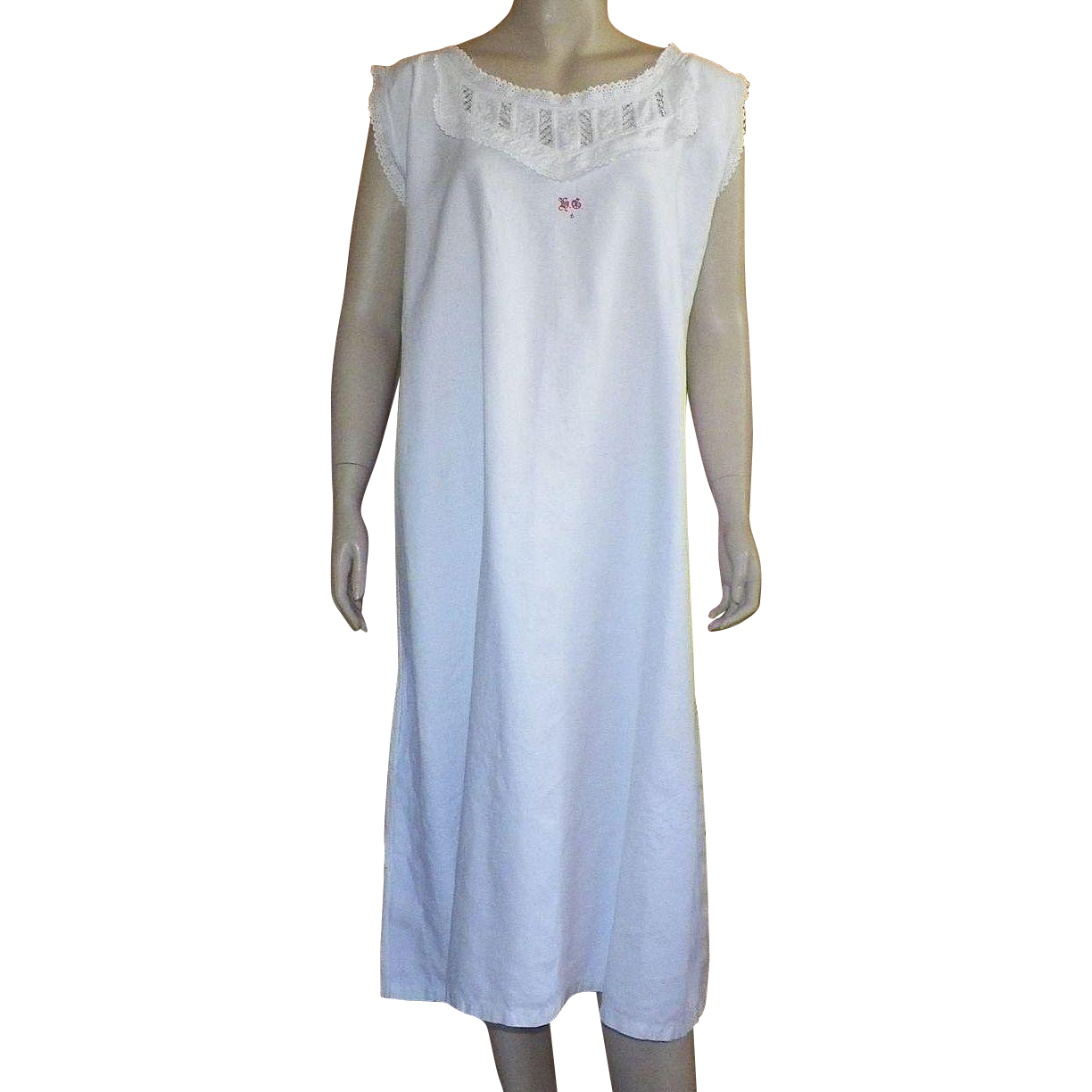 Victorian White Heavy Cotton Nightgown Size XL