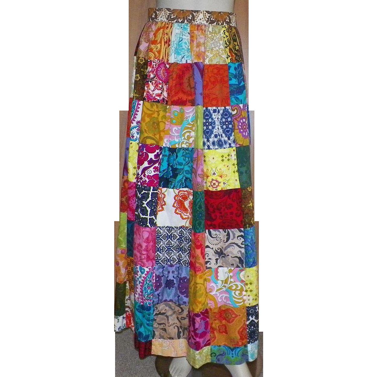 Vintage 1970's Thai Cotton Patchwork Maxi Skirt
