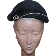 Vintage Black Merrimac Peachbloom Velour Hat With Pearl Details