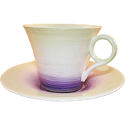 Shelley England Art Deco Purple Green Black Cup and Saucer