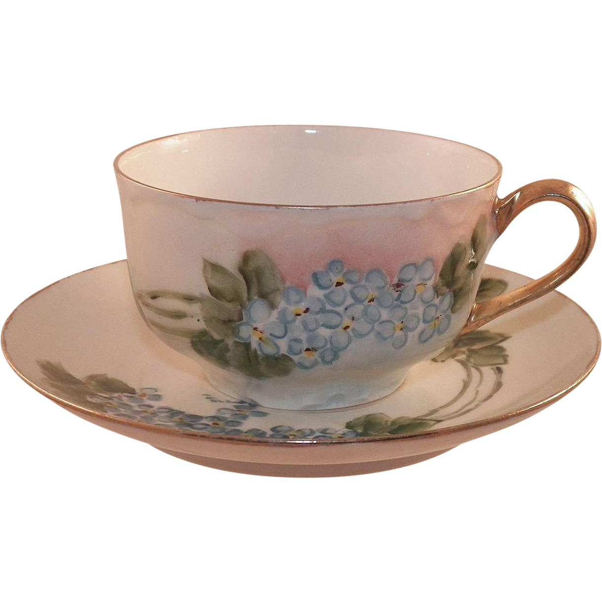 Vintage Haviland Limoges Hand Painted Floral Cup and Saucer