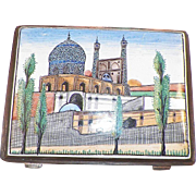 Vintage Hand Painted Enamel Cigarette Case Mosque Scene