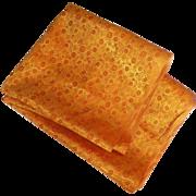 Vintage Asian Orange and Yellow Brocade Floral Fabric Yardage