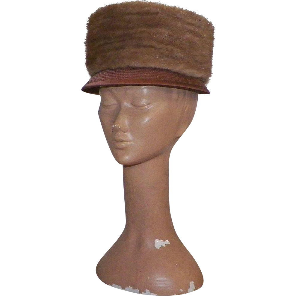 Vintage 1960's Dark Peach Satin Hat With Mink