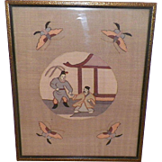 Antique Framed Japanese Silk Textile