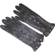 Vintage Brown Leather Kid Gloves With Snaps and Ruffled Cuff