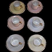Group Of Six Noritake Pastel Demitasse Cups & Saucers