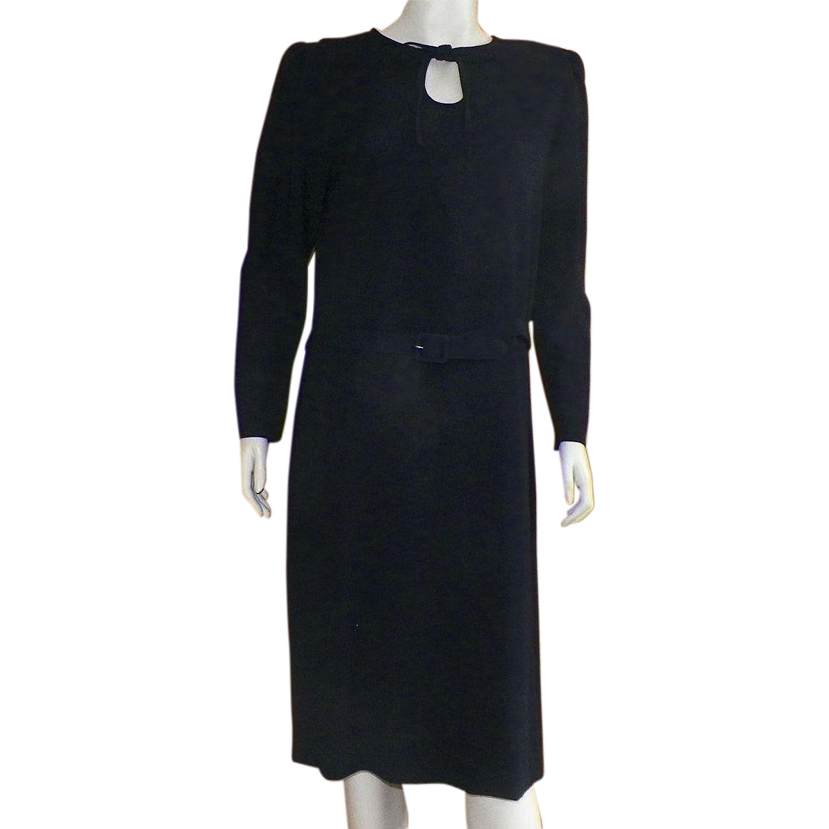 Vintage 1980's Jaeger Of Great Britain Black Wool Crepe Dress