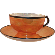 Vintage Limoges Charles Field Haviland GDA Orange Lusterware Cup and Saucer