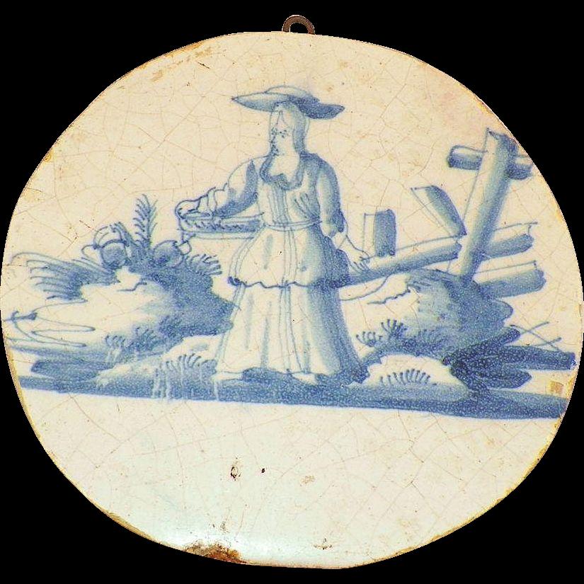 Antique 18th Century Delft Round Tin-Glazed Tile