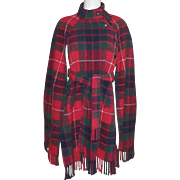 Vintage Scottish Tartan Wool Plaid Cape With Fringe