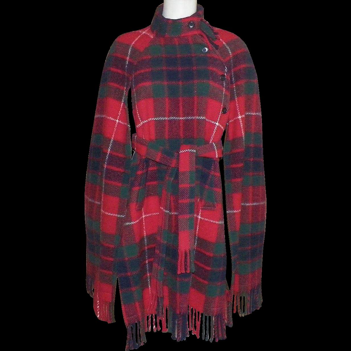 Vintage Scottish Tartan Wool Plaid Cape With Fringe