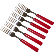 Set Of Six Red Bakelite Forks