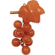 Vintage Baltic Amber Hanging Grapes Pin