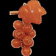 Vintage Baltic Amber Hanging Grapes Pin