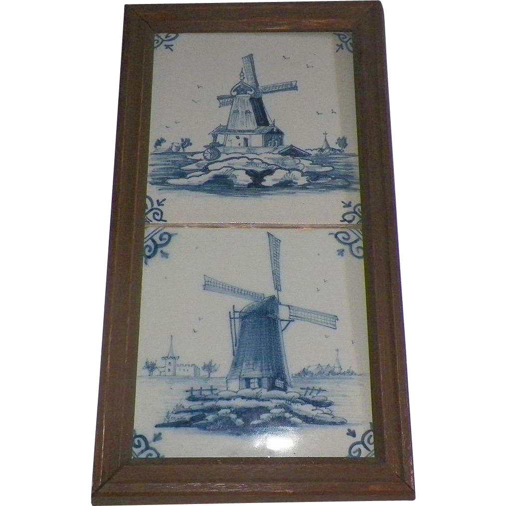 Pair Of Antique Delft Tiles Framed Windmill Scenes