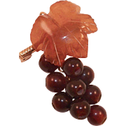 Vintage Baltic Two Tone Amber Leaf and Grapes Pin