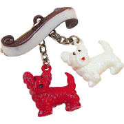 Czech Plastic Double Scottie Dog Pin