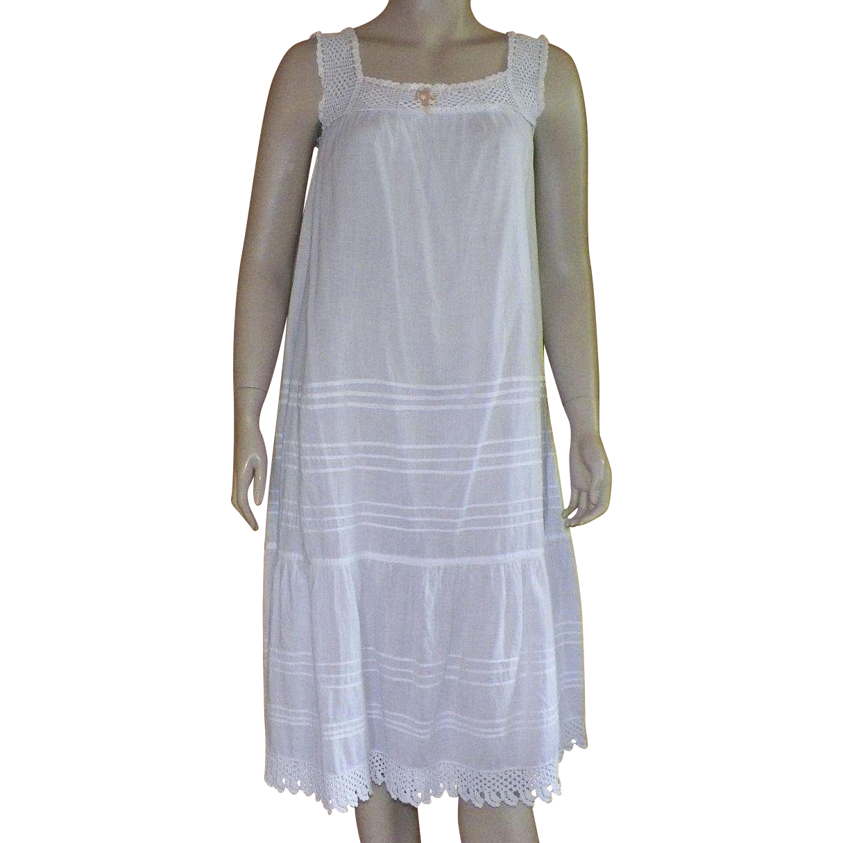Victorian White Sleeveless Cotton Nightgown With Crocheted Details