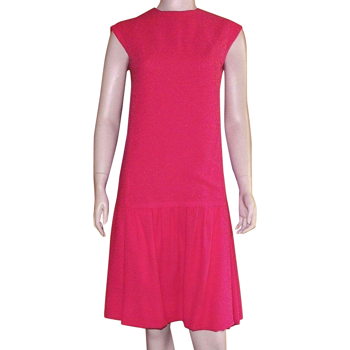 Vintage Jerry Parnis For Miss Martini Red Wool Crepe Dress 1950's