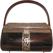 Vintage Faux Tortoiseshell Tyrolean Plastic and Metal Purse