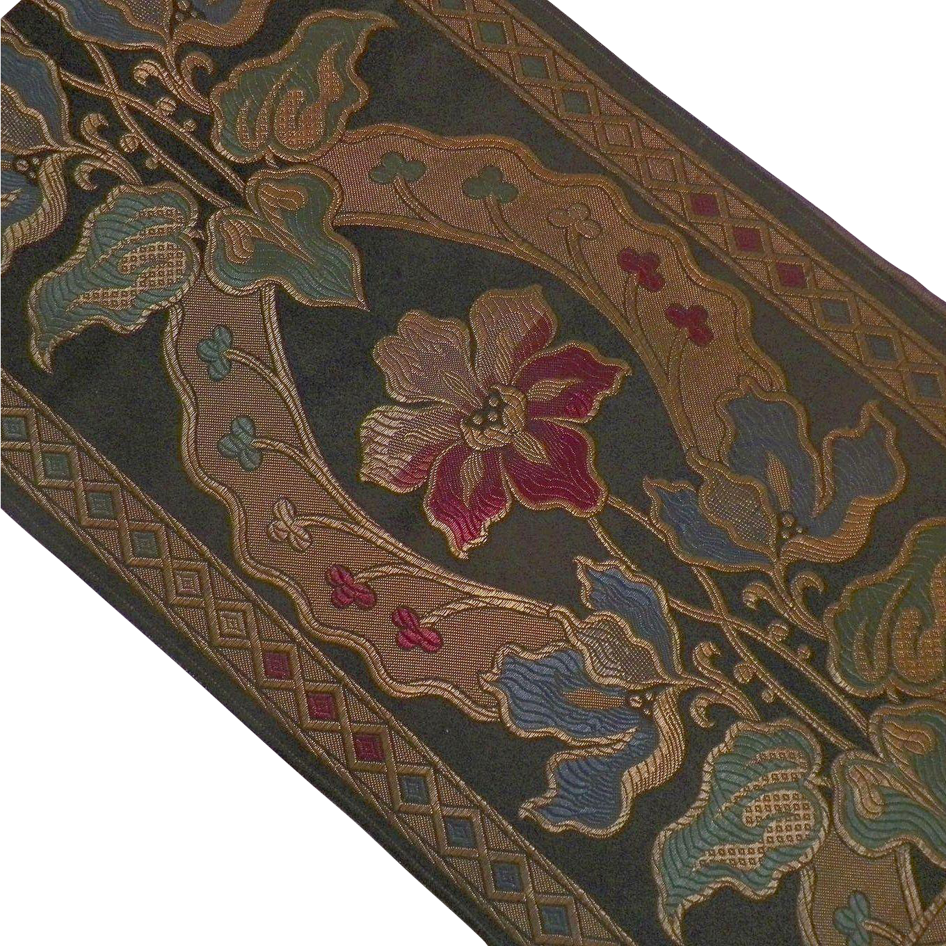 Art Nouveau Pattern Embroidered Table Runner Textile