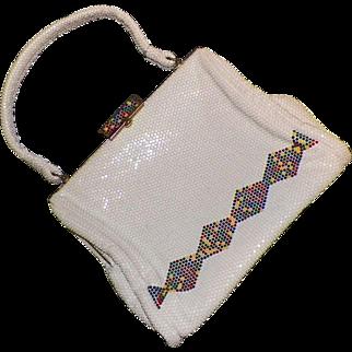 1960's White Mesh Lumured Luma Mesh Purse