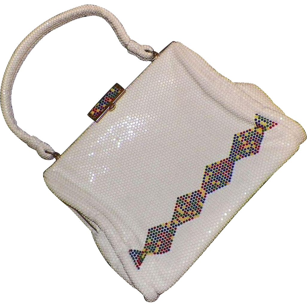 1960's White Mesh Lumured Luma Mesh Purse