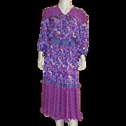 1980's Diane Freis Peasant Dress Dress One Size