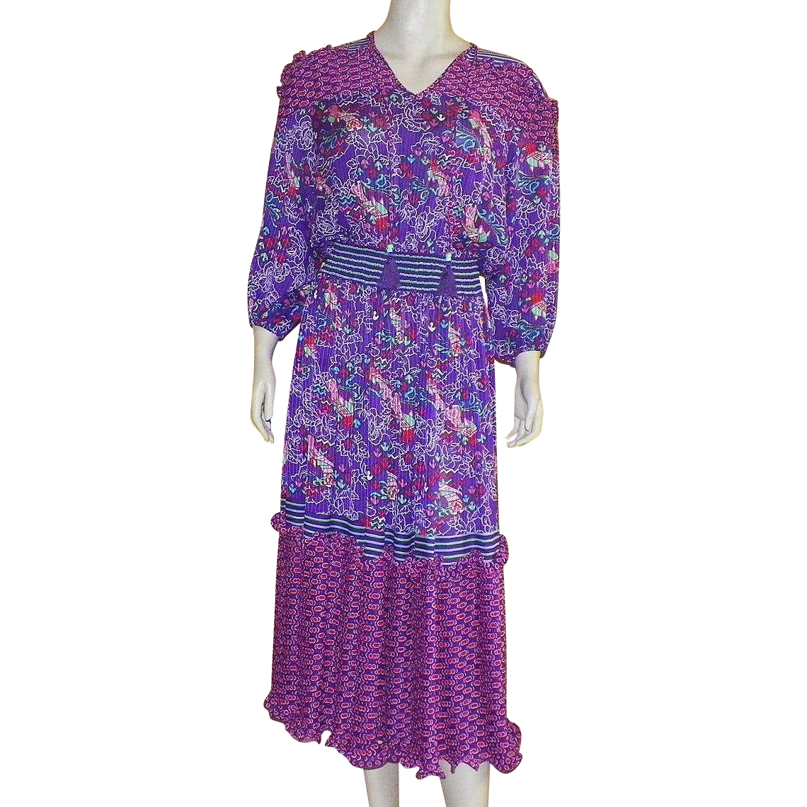 1980's Diane Freis Peasant Dress Dress One Size