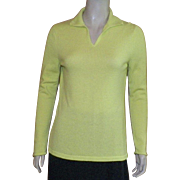 Peck and Peck Chartreuse Cashmere Sweater Size L