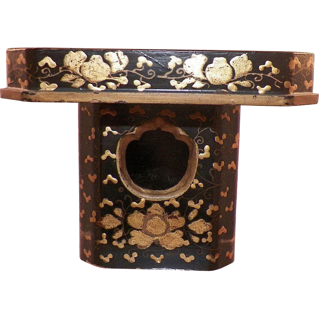 Vintage Asian Gold and Black Lacquerware Incense Burner
