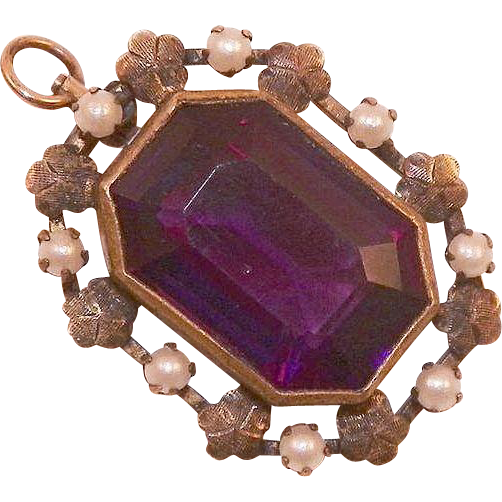 Victorian Amethyst Glass and Faux Pearl Pendant