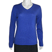 Vintage Peck and Peck Blue Cashmere Sweater Size L