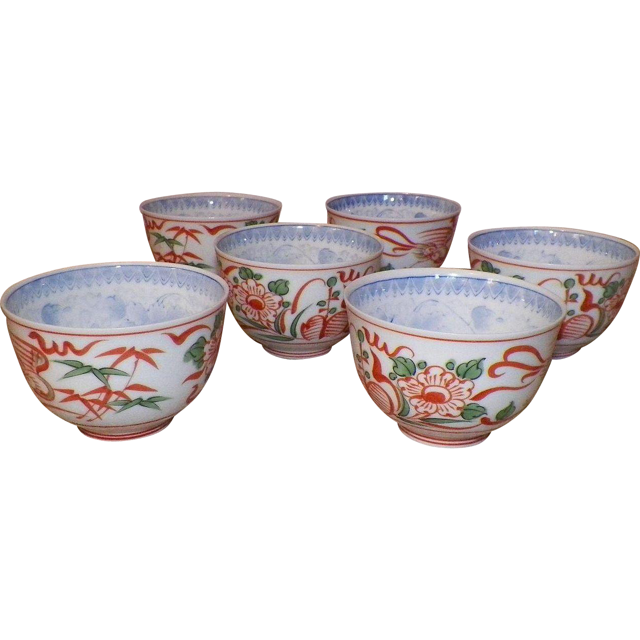 Set Of Six Japanese Or Chinese Porcelain Tea Cups