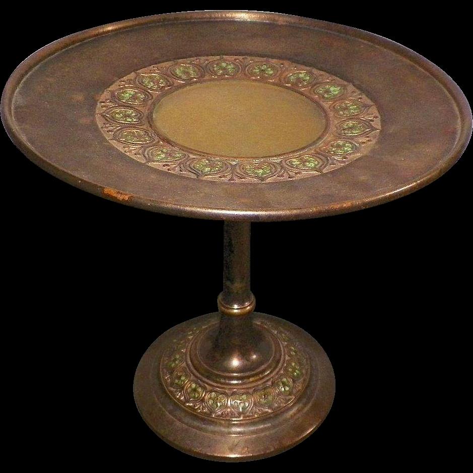 1920's Tiffany Furnace Dore Bronze Enamel Favrile Glass Compote