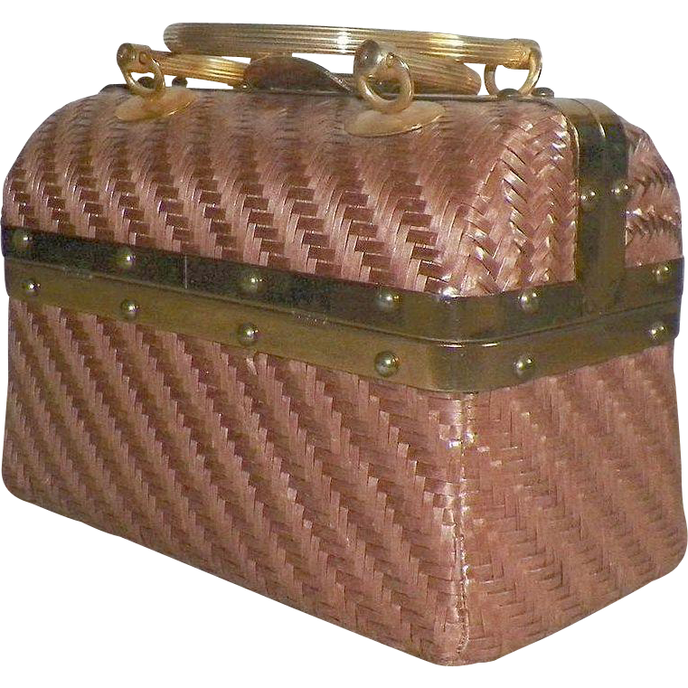Vintage Italian Woven Straw Trunk Purse With Brass Hardware