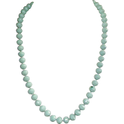 Vintage Vogue Aqua Ceramic Bead Necklace