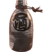 Vintage Japanese Pottery Sake Bottle