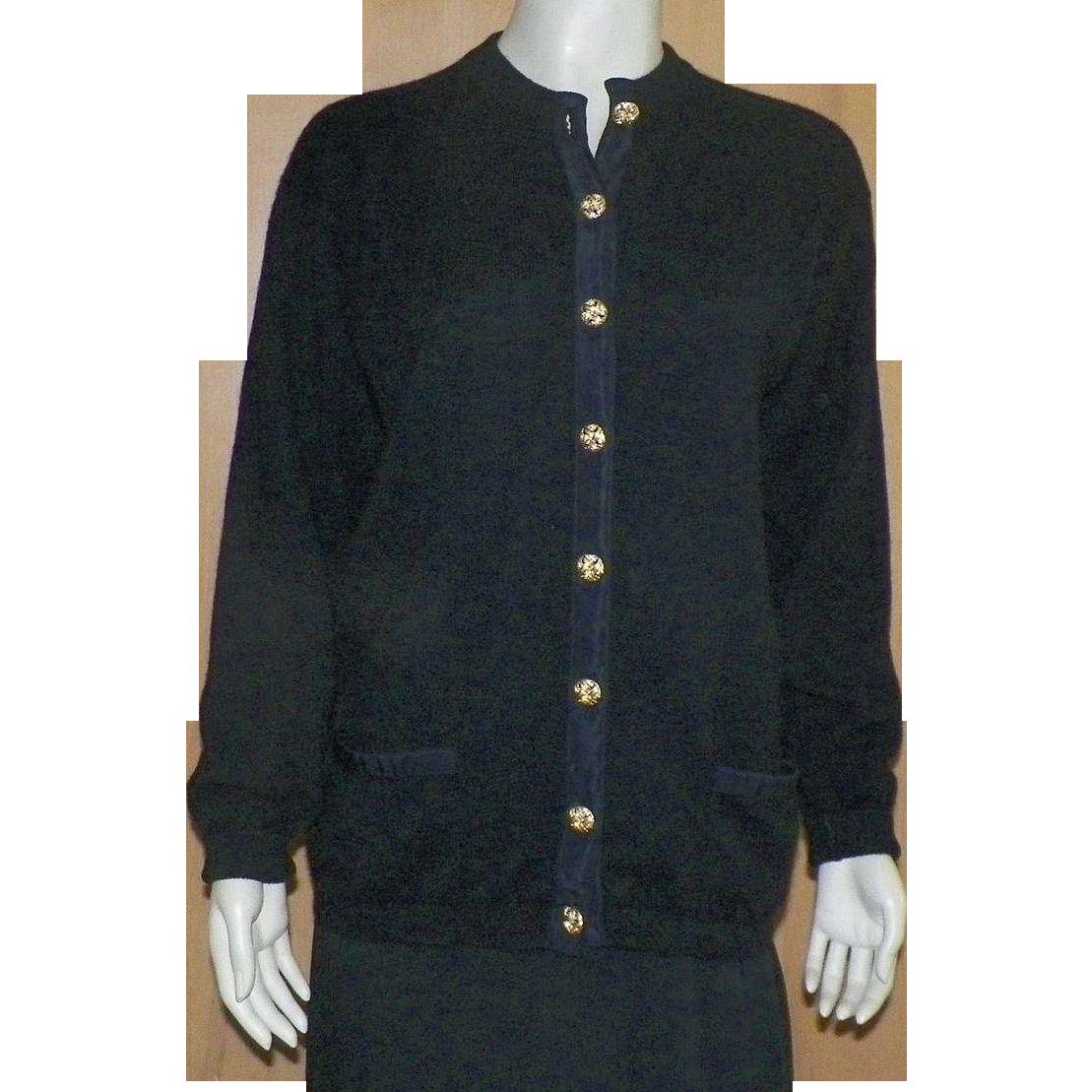 Vintage Burberrys Black Cashmere Cardigan Sweater Scotland 1980's L