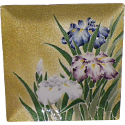 Japanese Tutanka Floral Enamel Cloisonne Dish Signed