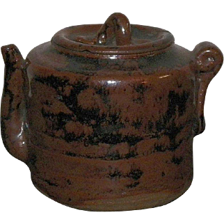 Old Chinese  Or Japanese Small Brown and Black Teapot