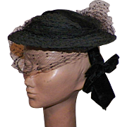 Vintage 1930's Black Hat With Black Net Veil