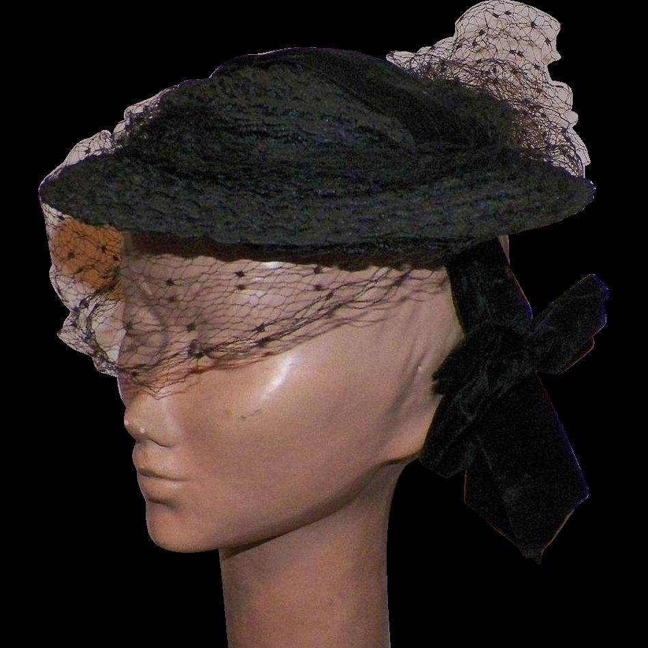 Vintage 1930's Black Hat With Black Net Veil