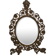 Victorian Ornate Metal MIrror Tabletop Or Hanging