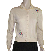 Vintage 1950's Light Yellow Cashmere Sweater Embroidered Flowers